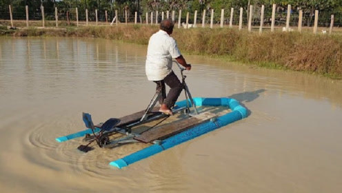 """60岁大爷自制""""水上自行车"""",200元造一台,已经申请专利!"""