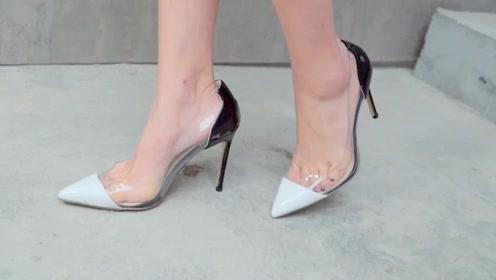高跟鞋开箱:一双裸色透明细跟高跟鞋,女生穿上一秒变女神!