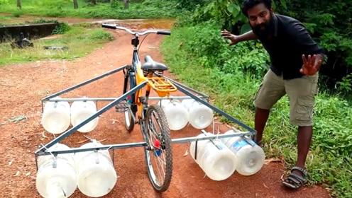 在自行车下边装8个水桶 它能像小船一样在水面上行驶吗