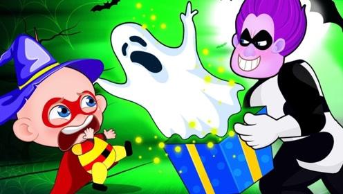姐弟万圣夜出门要糖果,看见邻居被幽灵骚扰,男孩化身超人解围!