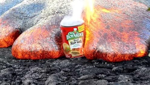 火山岩浆的威力有多大?老外将一个铁罐扔进去,真相一目了然!