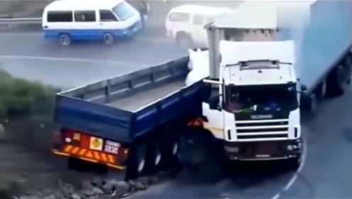 大货车弯道失控,生死攸关的时刻,司机含泪座做出这样的选择