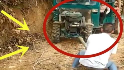 农村人才真多,大哥一看就是老司机,应付拖拉机用出绝招!