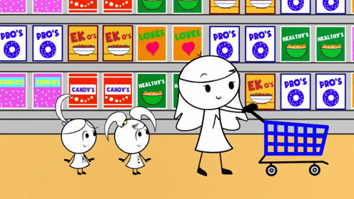 妈妈带女儿逛超市,不用妈妈帮自己就把东西买好了,真是棒!