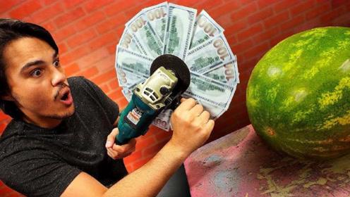 怎样才是切西瓜正确姿势?用1万美元制作电锯,土豪炫富新方法