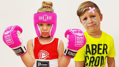 女孩为了能打赢弟弟,想要当拳击手,找爸爸来练习拳击!