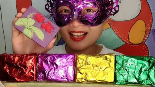 """小姐姐吃创意""""炫彩兰花牌巧克力"""",香甜柔滑好美味"""