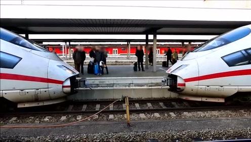 火车车头从相遇到连接的惊人变化,这个角度看的清楚