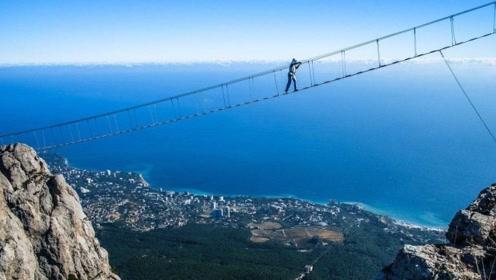 """全球""""最刺激""""的天梯,在数千米的悬崖上,游客:我好慌"""