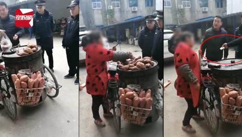 安徽阜阳女子违规出摊被查!城管:这车红薯,我全要了!