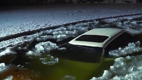 在结冰的湖面开车进行漂移,结果会如何?这是有钱人的快乐
