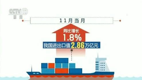 前11个月我国外贸进出口28.5万亿元 同比增长2.4%