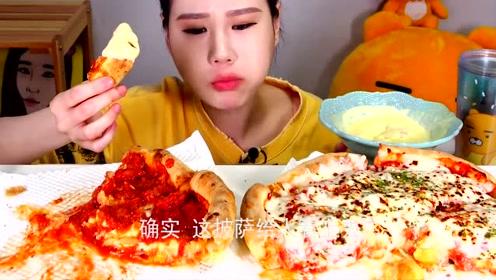 韩国网红吃播,吃番茄酱芝士披萨,大口吞咽看着就过瘾