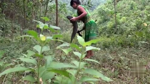 荒野生活:女子下河抓鱼,直接和表哥烧着吃,开眼界了