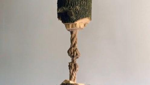 """牛人把木头雕刻成绳子,自称""""贫穷艺术"""",完工后一看太精致了!"""
