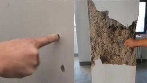 新房柱子一敲就碎,居民墙上练一指禅:不敢收房不敢住