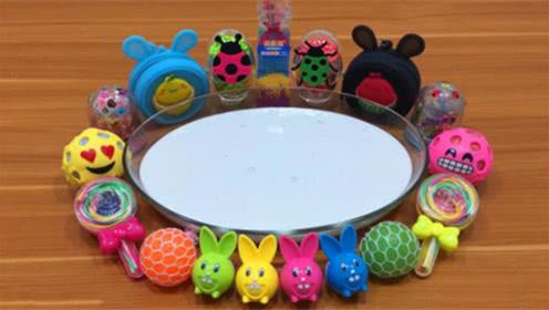 DIY史莱姆教程,牛奶史莱姆混合小兔子水晶泥、压力球、糖果彩泥