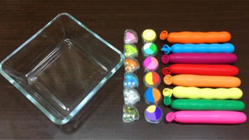 DIY史莱姆教程,8个彩色长气球混合8个多色彩泥、8个爱心雪花泥