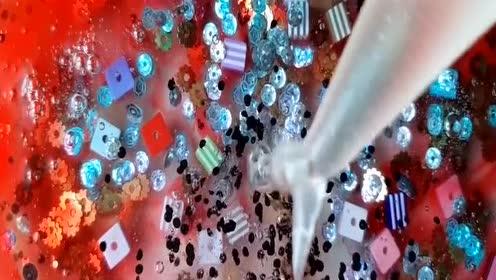达人自制史莱姆教程,裱花袋果冻泥+亮片水晶泥+炫彩水晶泥,漂亮到爆