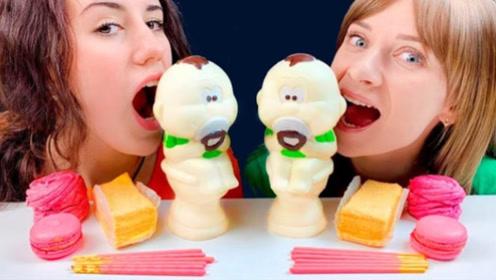 呆萌的娃娃巧克力,五颜六色非常好看,小姐姐越吃越调皮