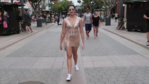 """美女穿""""无色透明裤""""上街,瞬间吸引无数人,网友:美女真会玩!"""