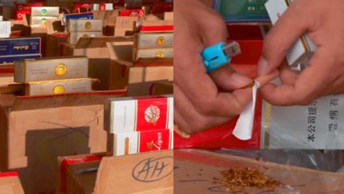 实拍:广西钦州海关连打2个非法香烟存放窝点 涉案案值达255万元