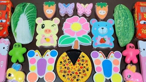 小熊、披萨、白菜、蝴蝶等材料混合,猜猜史莱姆变什么样