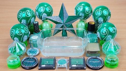 用绿色化妆品、闪粉亮片给透泰染色,无硼砂,得到超美的泥巴