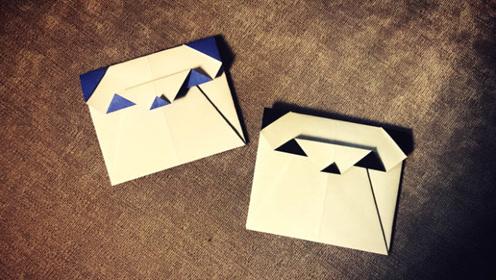 亲子手工 超级简单的熊猫书信折纸,可爱小实用