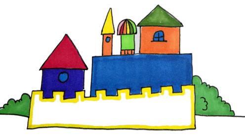 美丽的城堡卡通简笔画