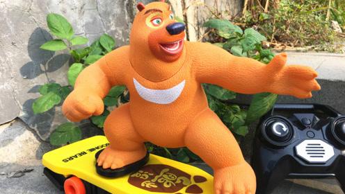 熊出没熊熊乐园玩具熊二滑板车闯森林