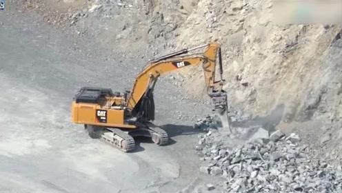 实拍:挖掘机司机开破碎锤碎石,可以加点工资吗?