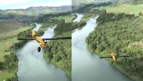 有惊无险 男子驾驶老式飞机炫技从悬崖上一跃而下_01