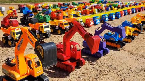 学习认识玩具车与用途,儿童益智早教挖掘机玩具
