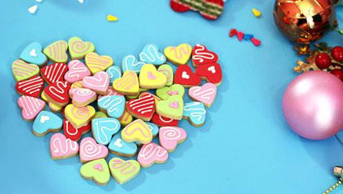 圣诞爱心翻糖饼干,送给小朋友们的神秘小礼物