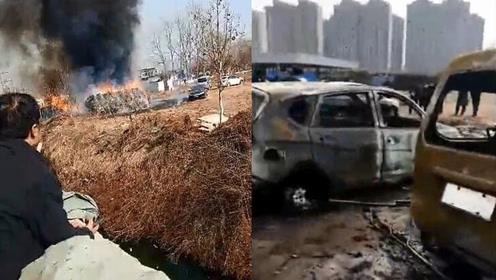 突发!临沭一集市多辆汽车起火燃烧 现场传出爆炸声
