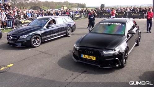 街头飚车,奥迪RS6 vs 奔驰AMG