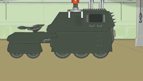 坦克世界搞笑动画:怎么把利维坦改成轮式装甲车了,网友:好难看