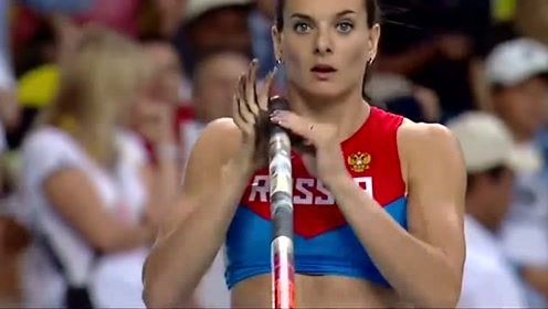 俄罗斯美女运动员女子撑杆跳世界冠军,健美的身材,完美的一跳