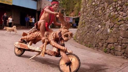 """菲律宾不用""""油和电""""的摩托车,时速50公里,骑着出门扛着回去"""