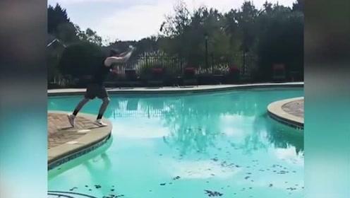 超厉害!帅气小伙一个筋头飞掠4米宽泳池 网友大赞:技高人胆大