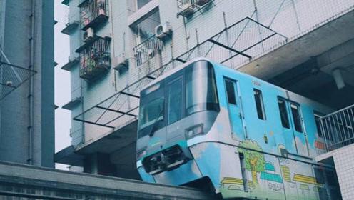 实拍李子坝穿楼地铁,感受魔幻山城的魅力