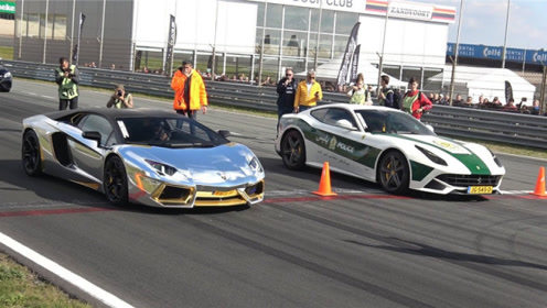 迪拜法拉利警车与兰博基尼竞速,比赛结果会如何?太震撼了!