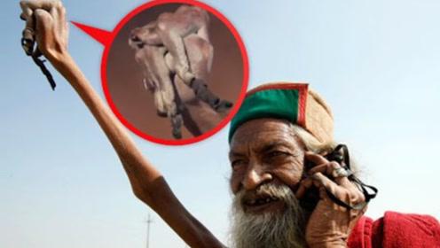 印度牛人高举手臂40多年,从未放下过一次,网友:看着都手酸