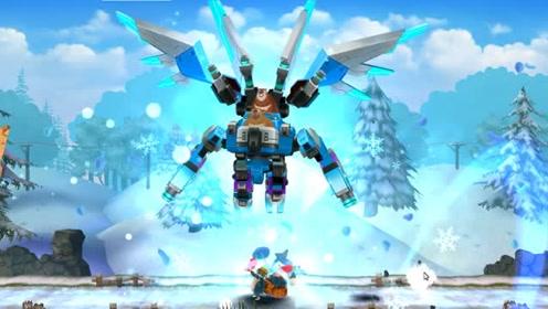 熊出没熊大使用巨像机器人释放漫天雪舞,赶走各种小怪兽
