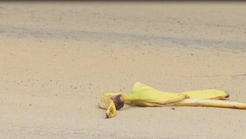 熊孩子故意扔香蕉皮导致车祸?老外趣味恶搞。网友:注意安全