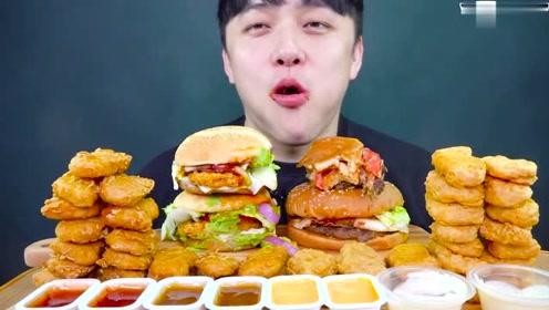 来了,来了,他带着汉堡鸡块来了。韩国大胃王小哥汉堡鸡块的吃播
