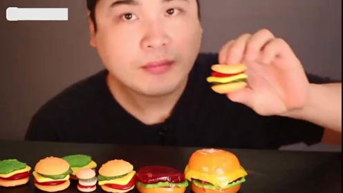 美食大挑战:大脸哥爱吃迷你小汉堡10个