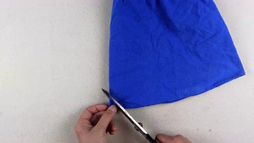 短裙太短穿着不方便,美女把它剪一刀改造一下,变成新款,厉害了