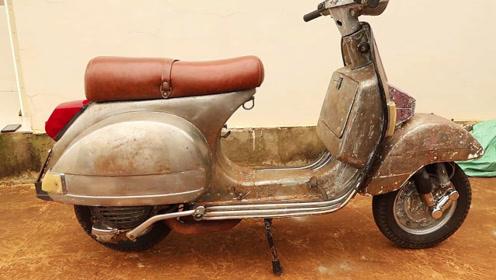 80年代的踏板车,一脚就启动,状态不减当年